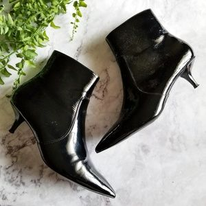 Topshop | Black Patent Kitten Heel Ankle Boots